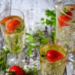 glasses of may wine with strawberries and sweet woodruff