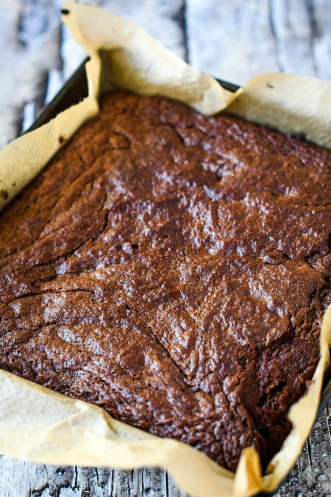 baked brownies straight from oven