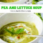 pea and lettuce soup pin image