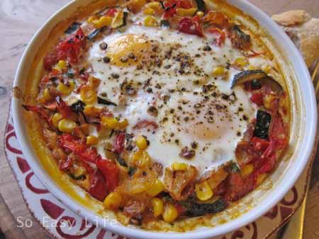 Baked Eggs Spanish Style