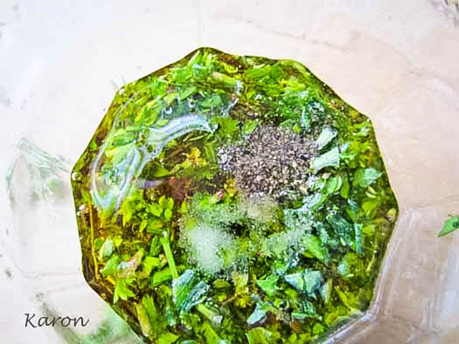 finished herb salad dressing in jar