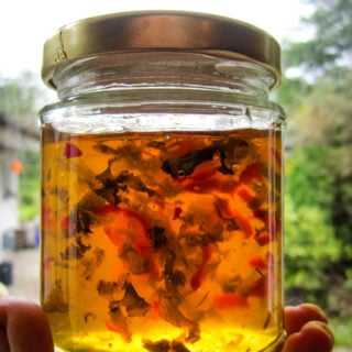 chilli and basil jelly in jar