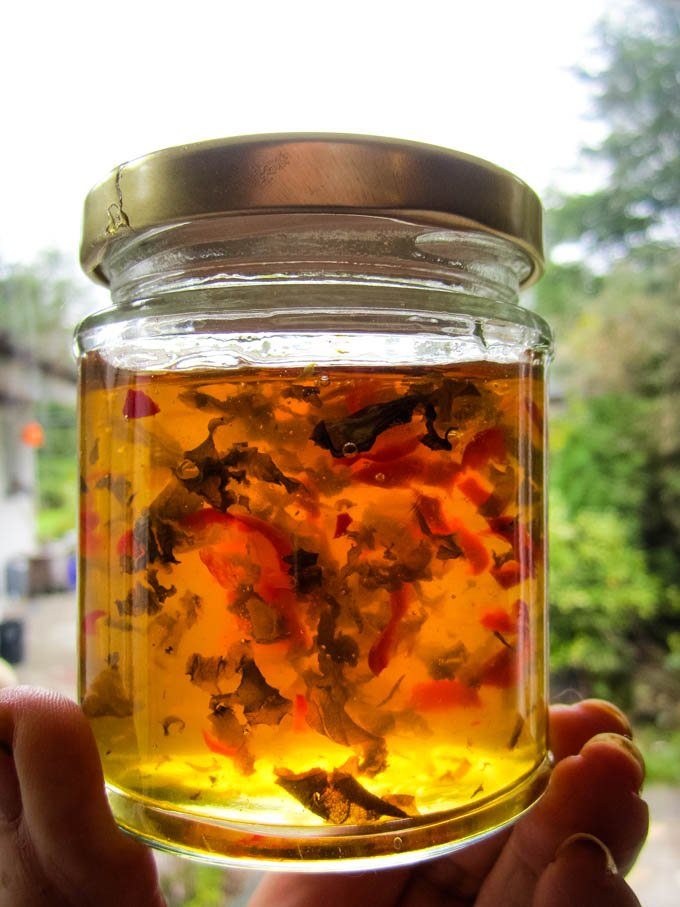 chilli and basil jelly in jar being held up to light