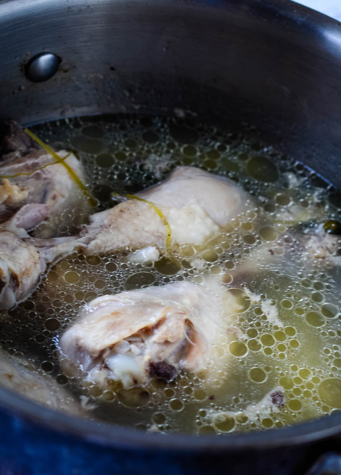 making the chicken stock
