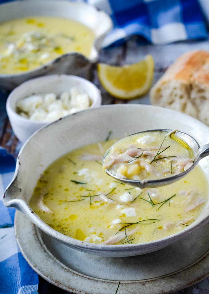 spoonful of egg and lemon soup