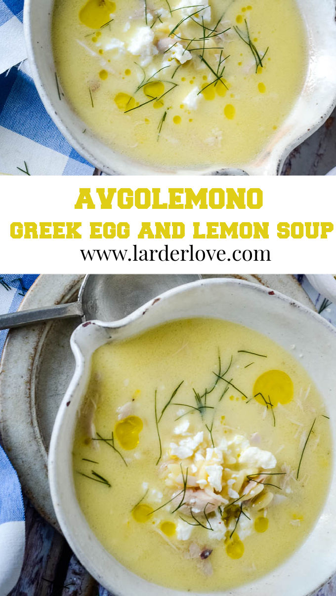 Greek avgolemono soup pin image