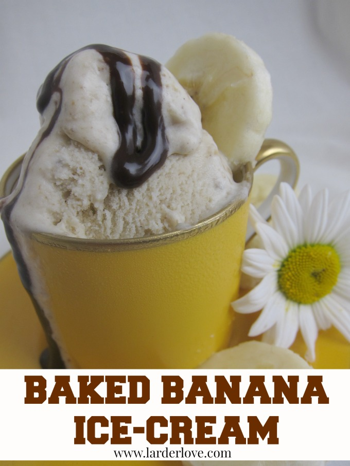 This super easy baked banana ice-cream is just packed with flavour by larderlove