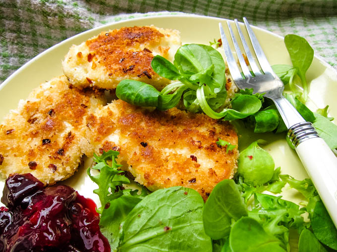 long image of the fried cheese and salad