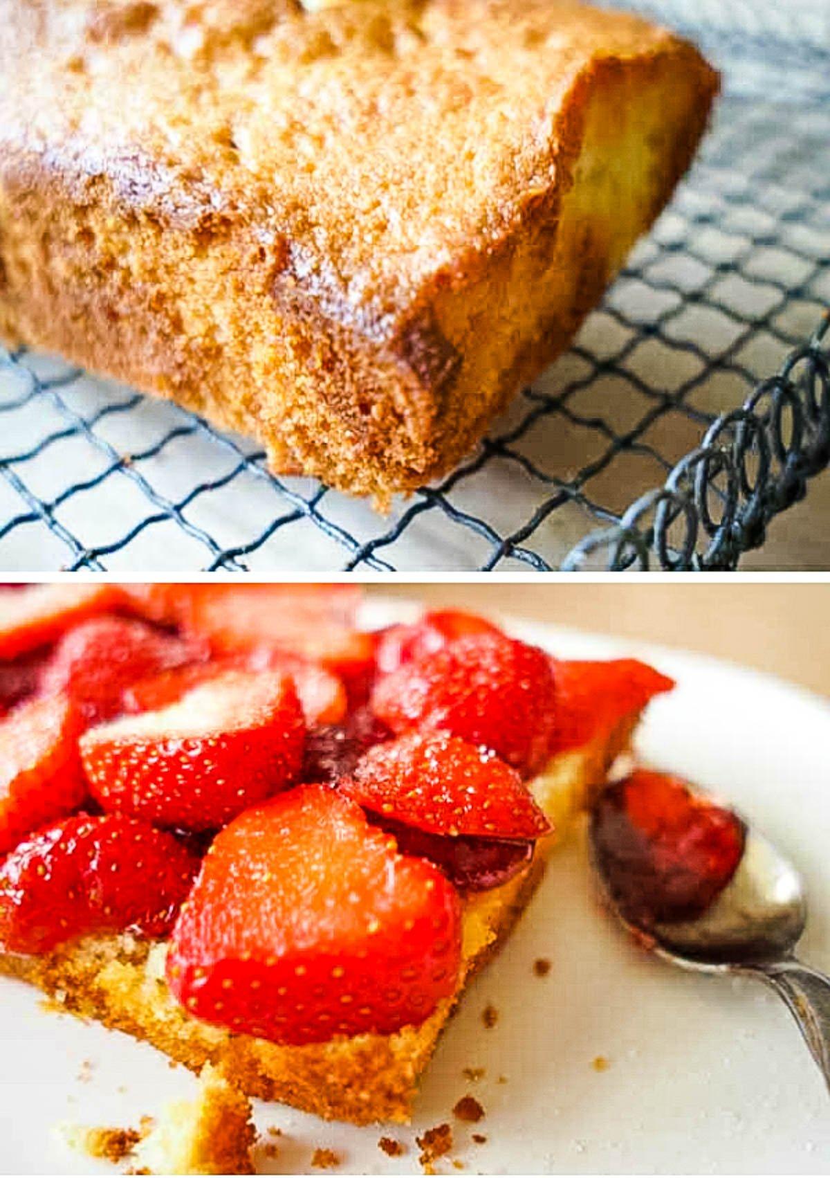 cake base and strawberries