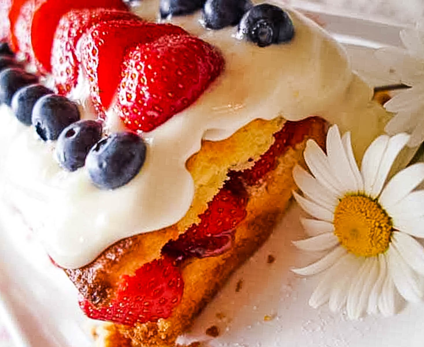 close up of the cake with berries