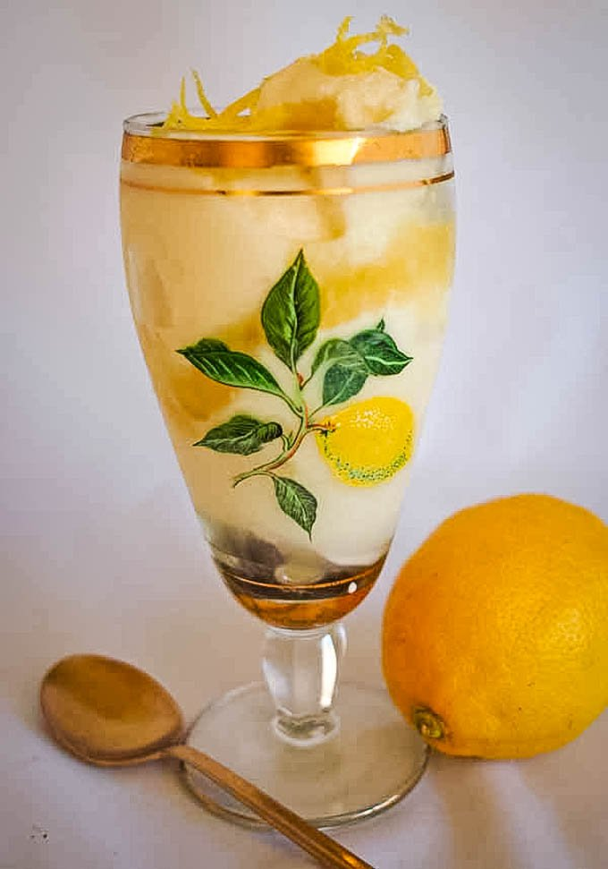 lemon and limoncello ice-creram in tall glass