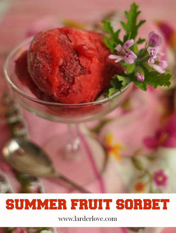 summer fruit sorbet is the most delightful dessert and has the taste and fragrance of scented geranium