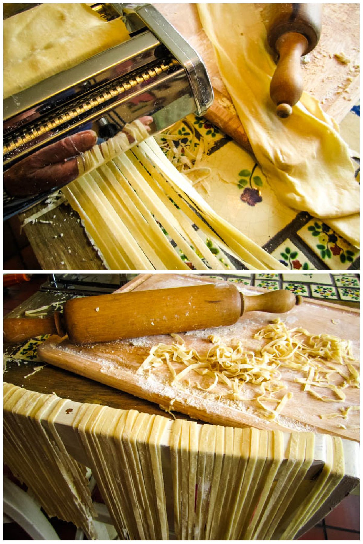 cutting the pasta shapes