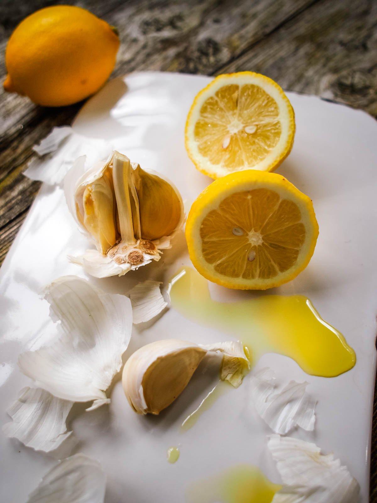 close up of lemons and garlic