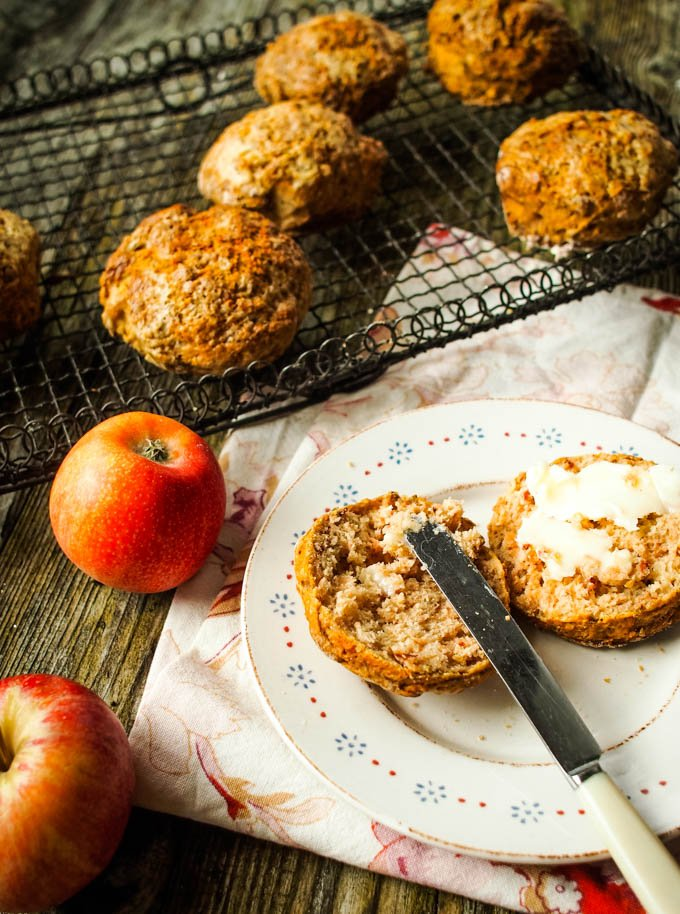 spiced apple scones with butter