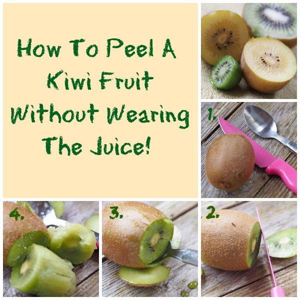 how to peel a kiwi fruitr without wearing the juice