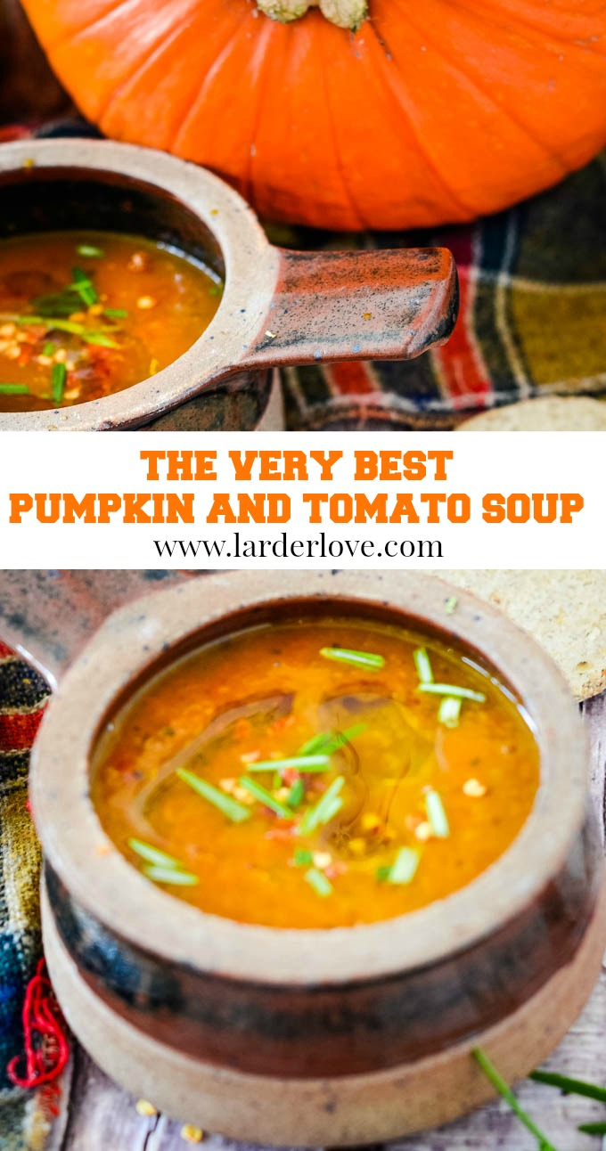 pumpkin and tomato soup pin image
