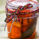 clementines in jar with tartan bow