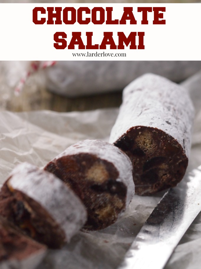 chocolate salami is a no-bake sweet treat packed with flavour and fun. The perfect foodie gift for Christmas! by larderlove