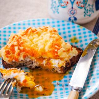 egg souffle toasts with mug behind