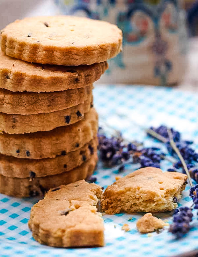 lavender shortbread on checkered plate