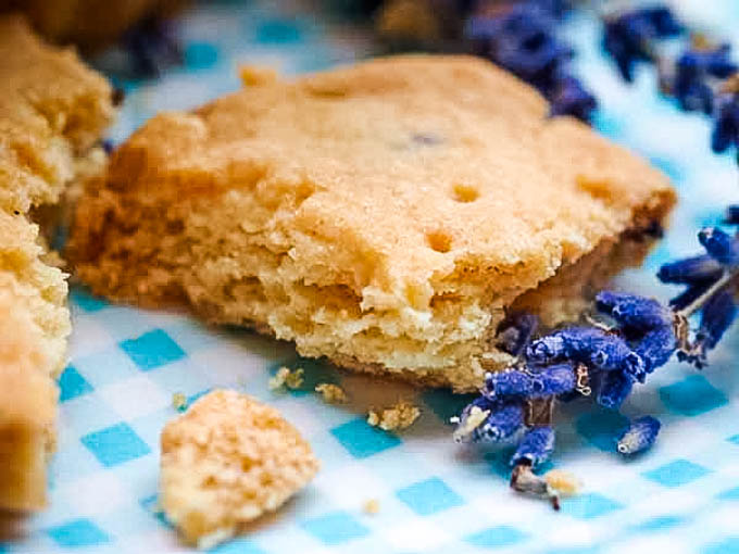 close up of biscuits with crumbs