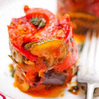 ratatouille puttanesca with fork at side