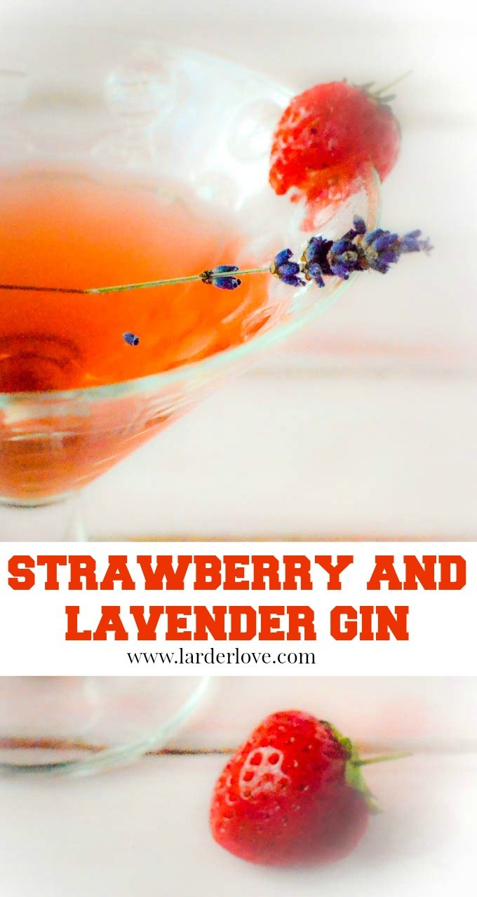 super easy recipe for strawberry and lavender gin liqueur. The true taste of summer all year long