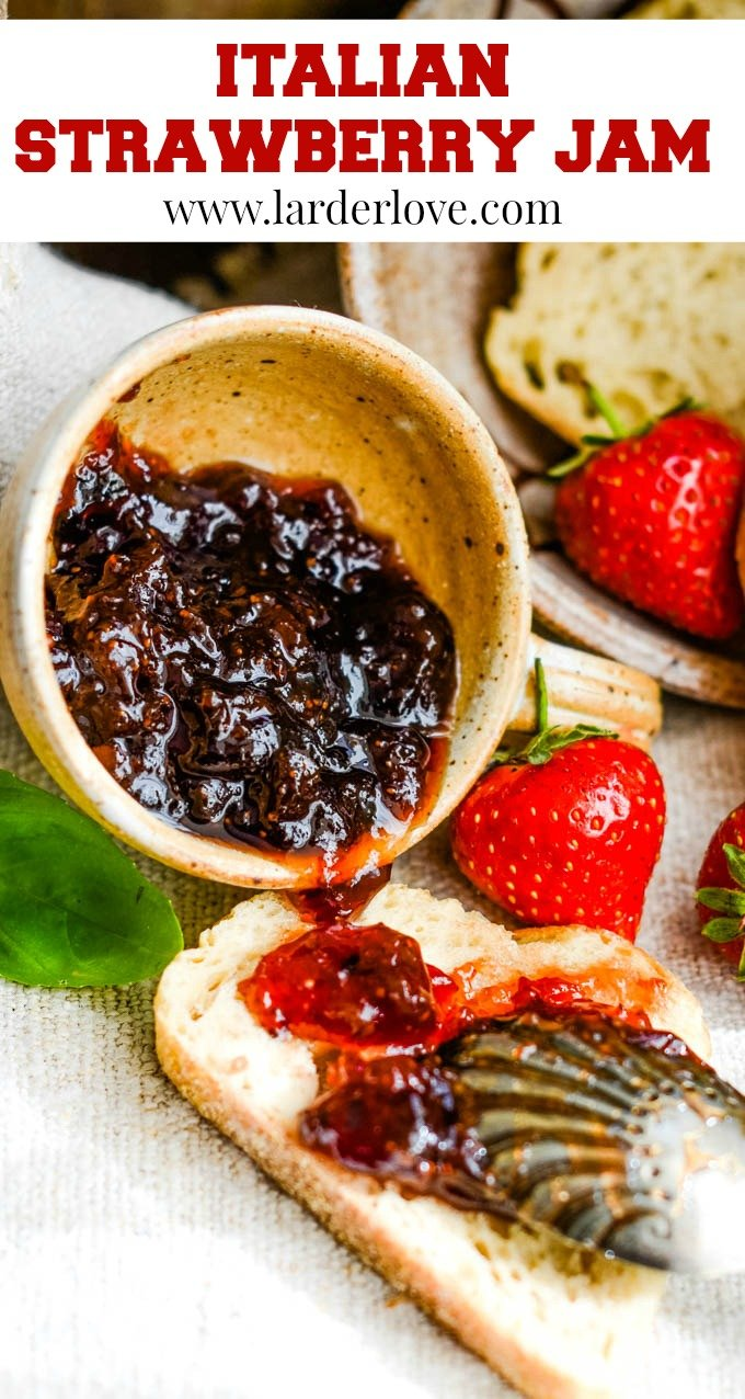 Super easy and tasty Italian inspired strawberry jam with balsamic vinegar, basil, black pepper too. It is sweet and savoury and works just as well with a cheeseboard as it does with your toast in the morning