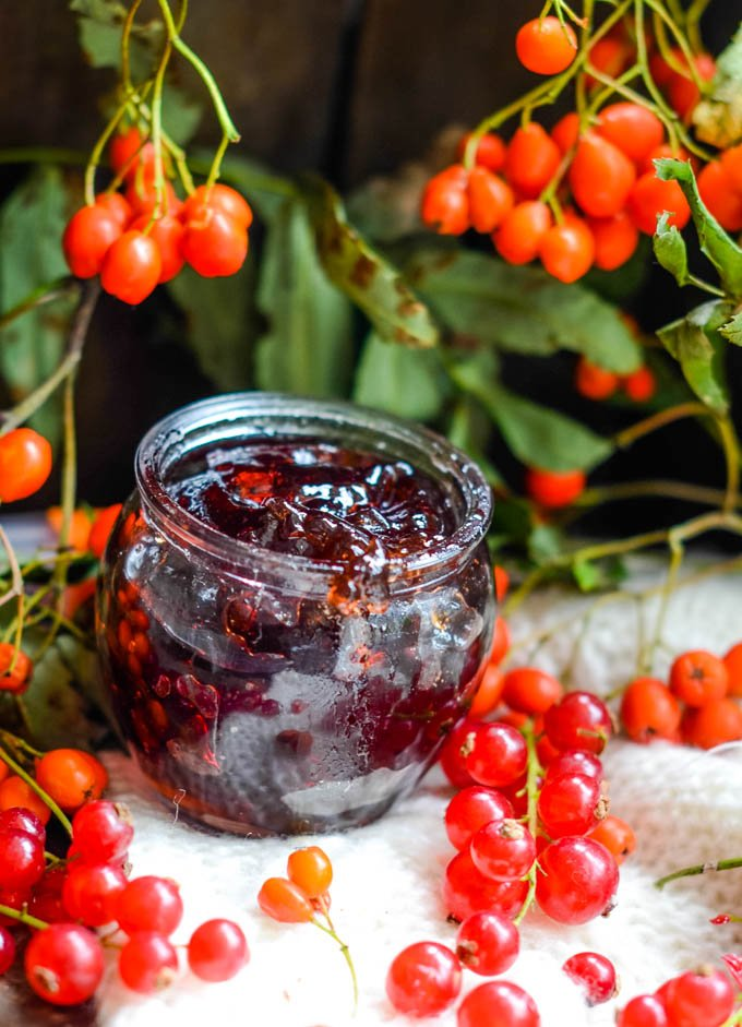 rowans and redcurrants and jar of jelly