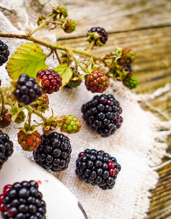blackberries on table
