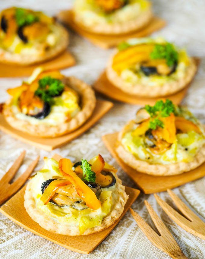 platter of mussel and leek tarts