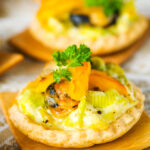 mussel and leek tarts close up