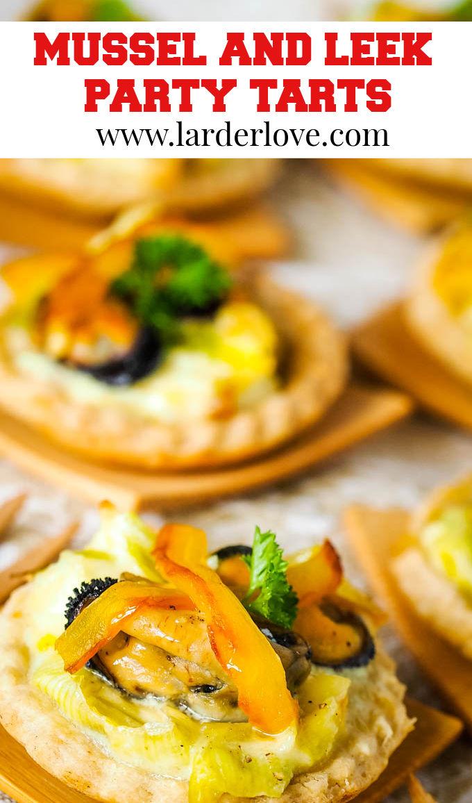mussel and leek tarts pin image