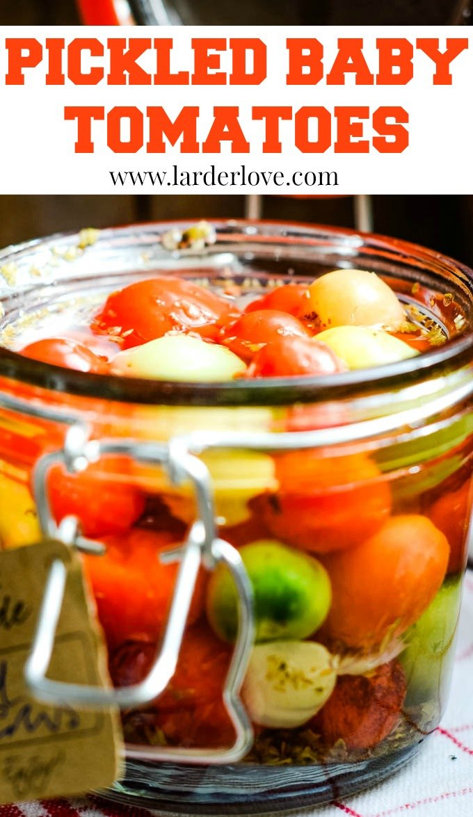 pickled baby tomatoes pin image