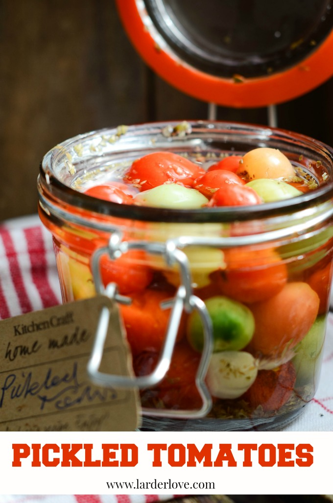 pickled tomatoes by larderlove