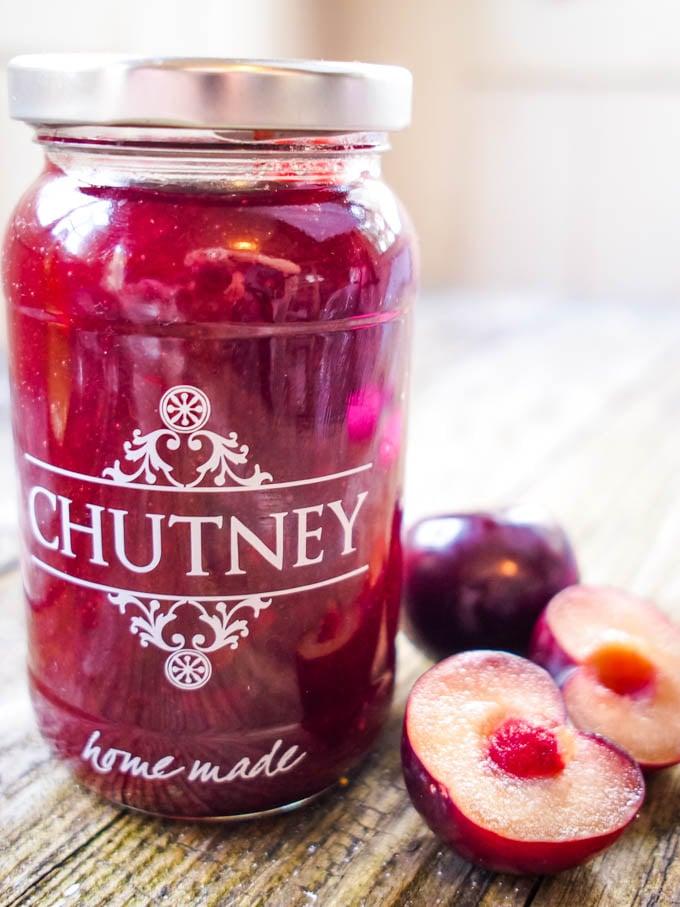 jar of chutney with plums