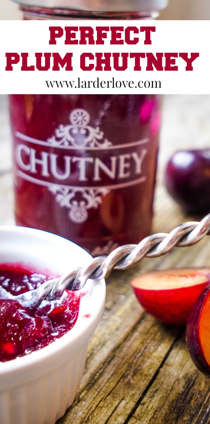perfect plum and ginger chutney pin image