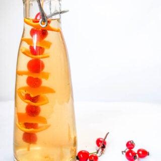 rosehip vinegar in bottle