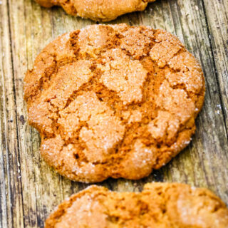 gingernut biscuits on wooden table