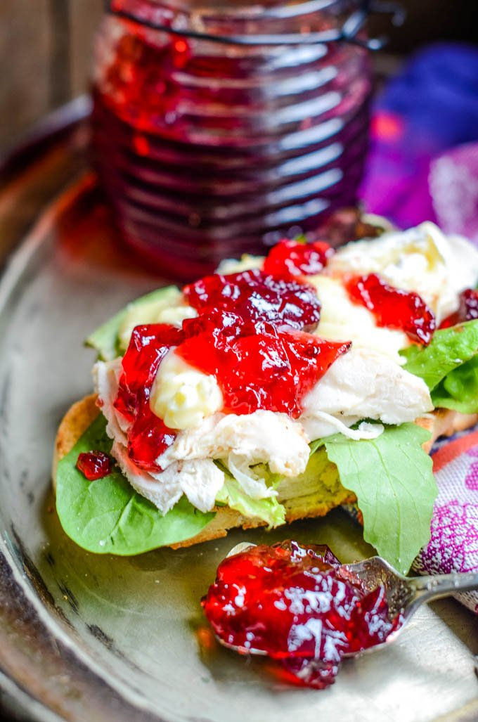 hedgerow jelly with scotch whisky with chicken salad sandwich