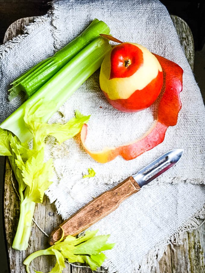 ingredients for celery and apple soup