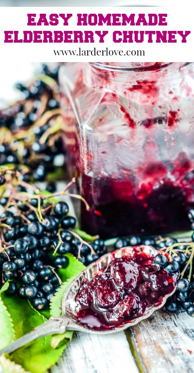 easy homemade elderberry chutney pin image