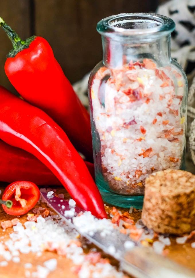 close up of salts jar