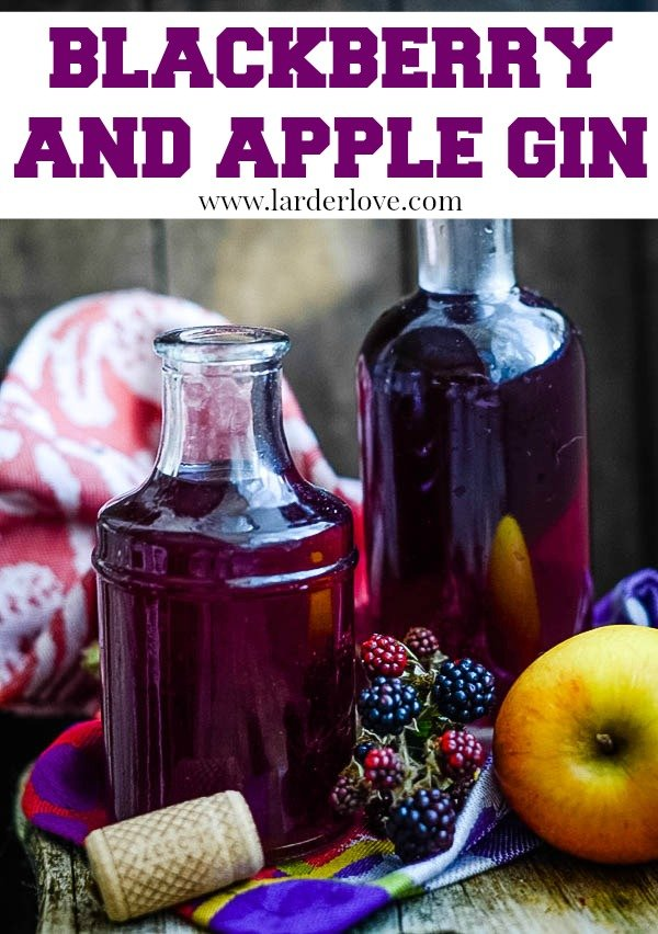 A super easy recipe for Blackberry and Apple Gin. The true taste of Autumn/Fall. It makes the perfect foodie gift for Christmas (or any time) too. By Larder Love