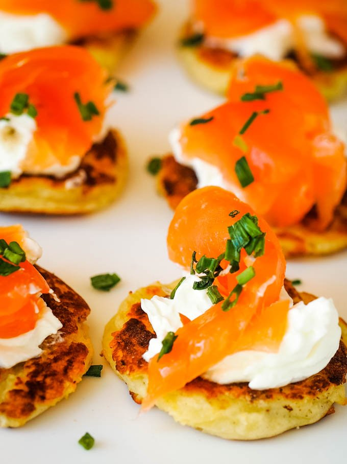 plate of potato scones with salmon and chives