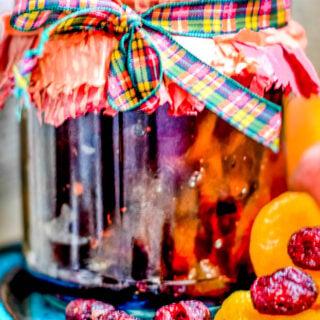 cranberry and apricot relish close up of jar