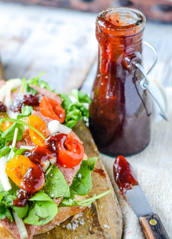 hawthorn berry ketchup with sandwich