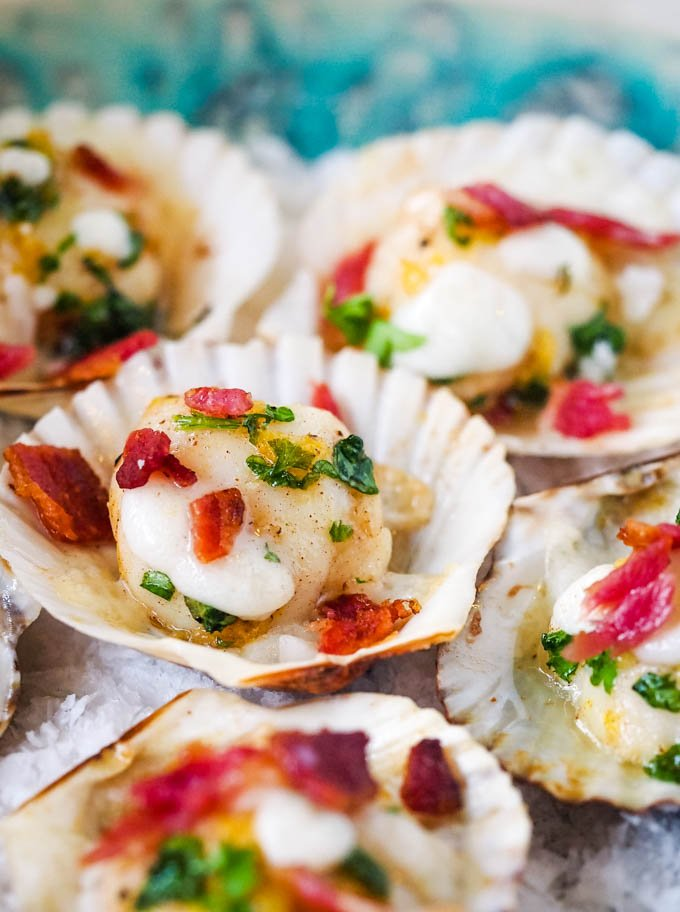 scallops with crowdie and bacon piled on platter