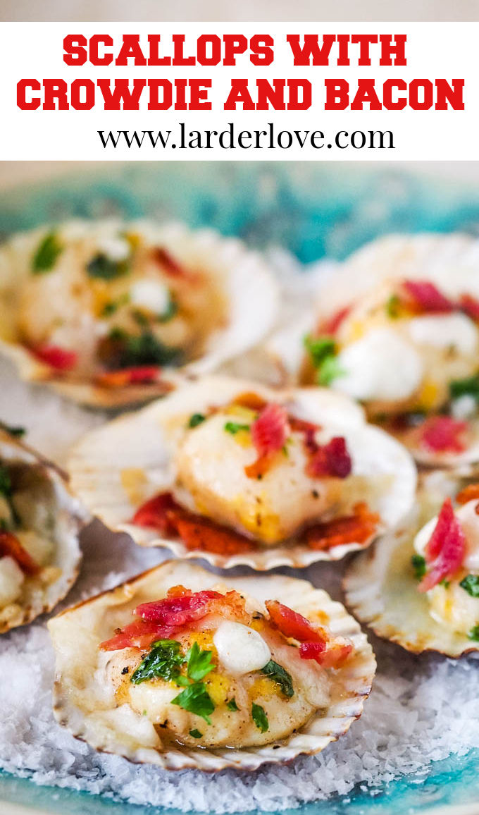 scallops with crowdie and bacon pin image